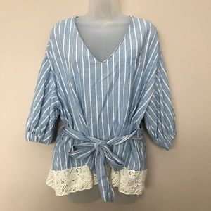 Zara Blue and White Striped w/ Lace Accent Blouse